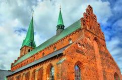 圣徒奥拉夫大教堂在老镇赫尔新哥-丹麦 库存照片