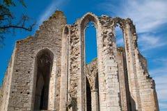 圣徒尼古拉斯教会,在海岛哥得兰岛,瑞典上的维斯比废墟  免版税库存图片
