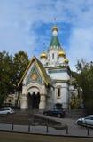 圣徒尼古拉什俄国教会在索非亚 免版税库存图片