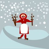 圣徒巴巴拉-女孩佩带的分支宴餐在一个多雪的风景的果树 免版税库存图片