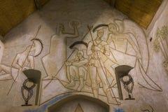 圣徒布勒斯des simples教堂,米利la foret,法国 库存照片