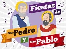 圣徒庆祝与音乐的彼得和保罗他们的宗教节日,传染媒介例证 免版税库存图片