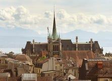 圣徒弗朗索瓦教会在洛桑,瑞士 库存照片