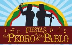 圣徒彼得和保罗剪影传统哥伦比亚的宗教节日,传染媒介例证 免版税库存图片