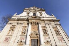 圣徒彼得和保罗教会,门面,克拉科夫,波兰细节  图库摄影