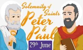圣徒彼得和保罗,传染媒介例证严肃的提示日期  免版税库存图片