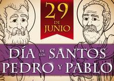圣徒彼得和保罗,传染媒介例证严肃的纪念设计  库存照片