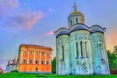 圣徒德米特里大教堂在弗拉基米尔 修造在12世纪,它是联合国科教文组织世界遗产在俄罗斯 免版税图库摄影