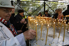 圣徒德米特里遗物的香客 免版税库存照片