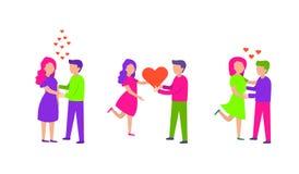 圣徒情人节宴餐的字符  背景查出的白色 一名爱恋的夫妇男人和妇女的传染媒介套 皇族释放例证