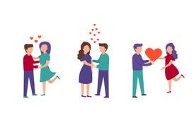 圣徒情人节宴餐的字符  背景查出的白色 一名爱恋的夫妇男人和妇女的传染媒介套 库存例证