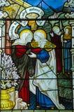 圣徒玛丽和马莎,污迹玻璃窗 免版税库存照片