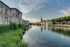 圣徒的Girons,法国Le Salat河 免版税库存照片