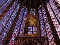 圣徒秀丽 --chapelle的污迹玻璃窗 免版税库存图片