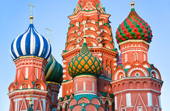 圣徒红场的,日落的莫斯科蓬蒿大教堂 免版税库存照片
