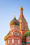 圣徒红场的,日落的莫斯科蓬蒿大教堂 库存照片