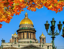 圣徒艾萨克斯大教堂在圣彼得堡,俄罗斯由橙色槭树叶子构筑了 免版税库存图片