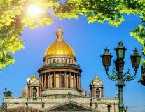 圣徒艾萨克斯大教堂特写镜头在圣彼得堡,俄罗斯 库存图片