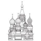 圣徒蓬蒿大教堂,莫斯科,传染媒介 免版税图库摄影