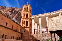 圣徒西奈moumtains的凯瑟琳的修道院,埃及 免版税库存图片