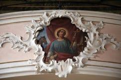 圣徒,在圣阿佳莎圣所的壁画绘画在Schmerlenbach,德国 库存图片