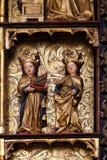 圣徒, 15世纪雕象,从圣洁念珠的女王/王后的教会在Remetine,克罗地亚 库存照片
