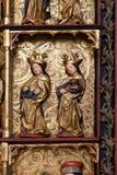 圣徒, 15世纪雕象,从圣洁念珠的女王/王后的教会在Remetine,克罗地亚 图库摄影