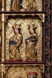 圣徒, 15世纪雕象,从圣洁念珠的女王/王后的教会在Remetine,克罗地亚 库存图片
