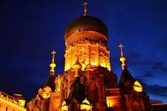 圣徒索菲娅大教堂夜场面在哈尔滨,中国 免版税库存图片