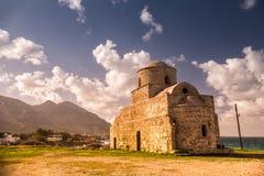 贴水(圣徒) Evlalios被放弃的教会 凯里尼亚区, Cypru 免版税图库摄影