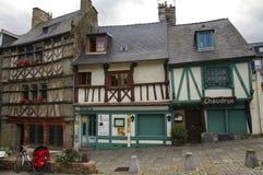 圣徒Brieuc (布里坦尼) :半木料半灰泥的房子 免版税库存照片