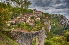 圣徒Cirq Lapopie,法国中世纪镇  免版税库存图片