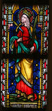 圣徒Euphemia -彩色玻璃在Sint-Truiden大教堂里  库存图片