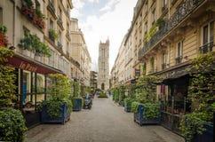 圣徒Jacques塔在巴黎 库存图片