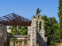 圣徒Kerkyra早期的基督徒大教堂在科孚岛希腊海岛上的  免版税库存照片