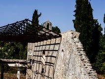 圣徒Kerkyra早期的基督徒大教堂在科孚岛希腊海岛上的  免版税库存图片