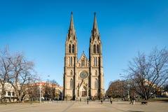 圣徒Ludmila教会在Namesti Miru广场,布拉格 免版税库存图片