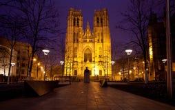 圣徒Miche大教堂布鲁塞尔 免版税库存照片