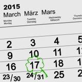 圣徒Patricks日 日历3月17日 免版税库存图片