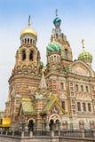 圣徒PETERBURG/RUSSIA-09 DESEMBER 2018年:救主的教会Spilled血液的,其中一St主要视域  免版税库存照片