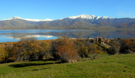 圣徒Prespes湖的Achilleios海岛在希腊 免版税库存照片