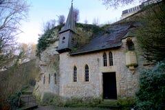 圣徒Quirin教堂在老镇卢森堡城市 库存照片