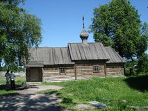 圣德米特里Solunsky木教会在Staraya拉多加 图库摄影