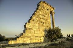 圣所和阿波罗教堂Hylades, Kourion Amphitheare 免版税库存照片