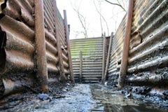 圣所沟槽木头ww1 库存照片