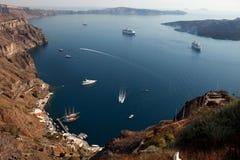 圣托里尼停泊处,锡拉Fira,希腊 免版税库存照片