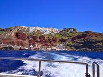 圣托里尼小船乘驾 库存图片