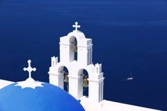 圣托里尼希腊教会 免版税库存图片