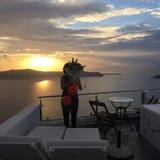 圣托里尼开花浪漫海岛希腊 库存照片