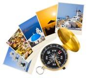 圣托里尼摄影和指南针 免版税库存图片